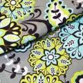 Ткань Крупные цветы на сером фоне