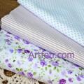 Набор тканей Сиреневые розы, полоска и голубой горошек