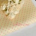 Ткань молочная пастель в розовые горошины