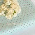 Ткань голубая пастель в розовые горошины