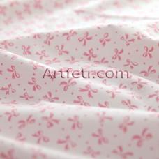 Белый хлопок в розовый бантик
