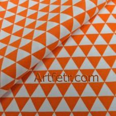Оранжевые треугольники ткань для рукоделия с геометрическим рисунком