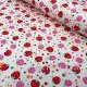 Белый хлопок в красные и розовые клубнички ягодки