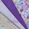 Белый хлопок в мелкий фиолетовый горошек