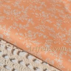 Ткань хлопок Розы на оранжевом фоне