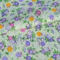Лиловые цветочки и ягодки на молочном фоне. Ткань хлопок