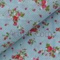 Клубника и вишня на серо-голубом, ткань хлопок
