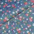 Ткань хлопок Розы на джинсово-синем фоне