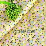 Ткань нежно-желтая в оливковый и розовый цветочек