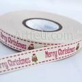 Лента хлопковая с надписью Merry Christmas, 1 м