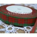 Лента красно-зеленая с люрексом 25 мм
