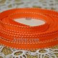 Лента репсовая 9 мм оранжевая с строчкой