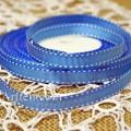 Лента репсовая 9 мм синяя с строчкой