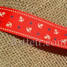 Лента репсовая с рисунком Якоря на красном, 25 мм, 1 м