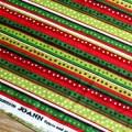 Зеленая красная широкая полоска в белый горох. Рождественский принт.