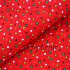Красный американский хлопок в разноцветный горох ткань для пэчворка