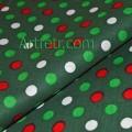 Хлопок рождественский темно-зеленый красный белый салатовый кружок