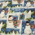 Ткань хлопок новогодняя Снеговики, Остролист для пэчворка