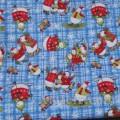 Ткань голубая Снеговики с блестками Рождество Новый год