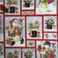 Новогодняя ткань Санта Клаус Снеговик Рождество