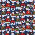 Новогодняя ткань Снеговики на темно-синем фоне. Ткань с блестками.