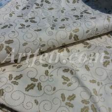 Ткань хлопок Joann Fabric золотой остролист на молочном фоне