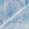 Голубые узоры на белом, ткань с блестками