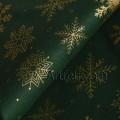 Хлопок рождественский темно-зеленый золотая снежинка