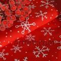 Красная ткань белые снежинки