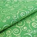 Ткань золотые завитки на зеленом Рождество