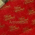 """Ткань новогодняя """"Merry Christmas"""" с золотым узором на красном"""