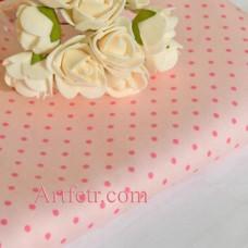 Ткань нежная розовая пастель в розовые горошины