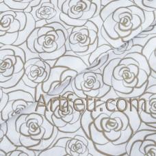 Купить ткань с рисунком золотые розочки на белом, золотистый контур