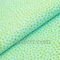Ткань оливковые горошки на ментоловом фоне
