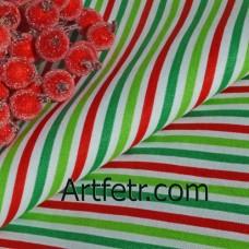 Ткань хлопок салатовая, красная и зеленая полоска