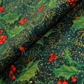Зеленая ткань остролист ягоды падуба на зеленом золотая россыпь