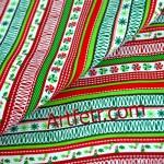 Ткань зеленая красная полоска. Рождественский принт.