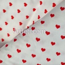 Белая ткань красные сердечки 4 мм