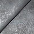 Ткань завитки серебро на сером
