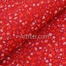 Красная ткань мелкие красные цветы
