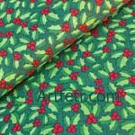 Ткань зеленый остролист ягоды падуба на зеленом