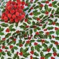 Ткань зеленый остролист ягоды падуба на белом