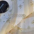 Ткань хлопок белый с бежевой волной и золотой снежинкой