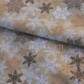 Бежевая ткань ажурные снежинки глиттер