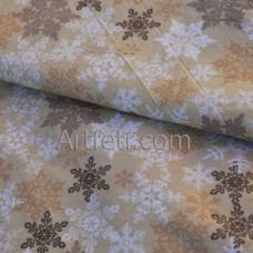 Бежевая ткань ажурные снежинки с блестками