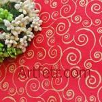 Ткань золотые завитки на коралловом Рождество