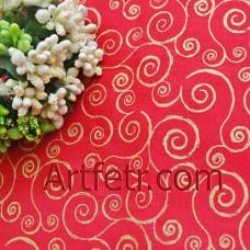 Золотые завитки на коралловом ткань для пэчворка, скрапа и творчества