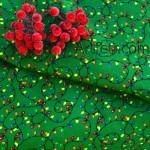 Ткань зеленая рождественские огоньки