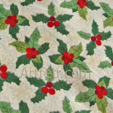 Ткань зеленый остролист ягоды падуба на бежевом