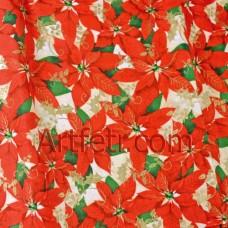 Ткань Пуансеттия и золотой остролист (Poinsettia)